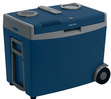 w35 blue grey 35 litre camping coolbox with rear wheels